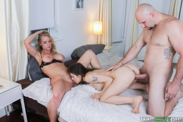 Rachael Cavalli and Sofie Reyez fucked by bald guy with big cock